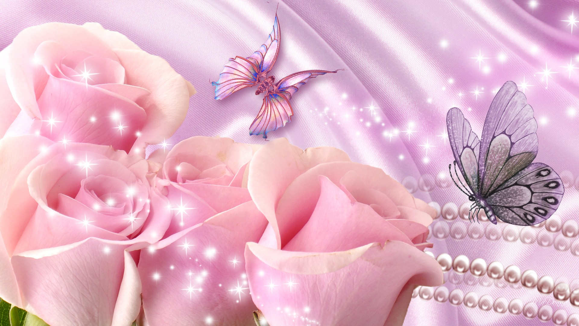 butterflies with pink rose